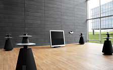 Bang & Olufsen BeoVision 5 42 on motorised floor stand with BeoLab 5 and BeoCenter 2 wide wallpapers and HD wallpapers