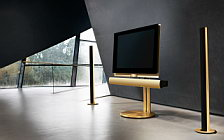 Bang & Olufsen BeoVision 7 40 with BeoLab 7 2 on motorised floor stand with BeoLab 6002 golden series wide wallpapers and HD wallpapers
