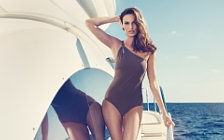 Girl and Yacht wide wallpapers and HD wallpapers